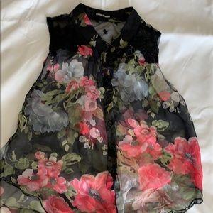 Cotton express sheer floral top